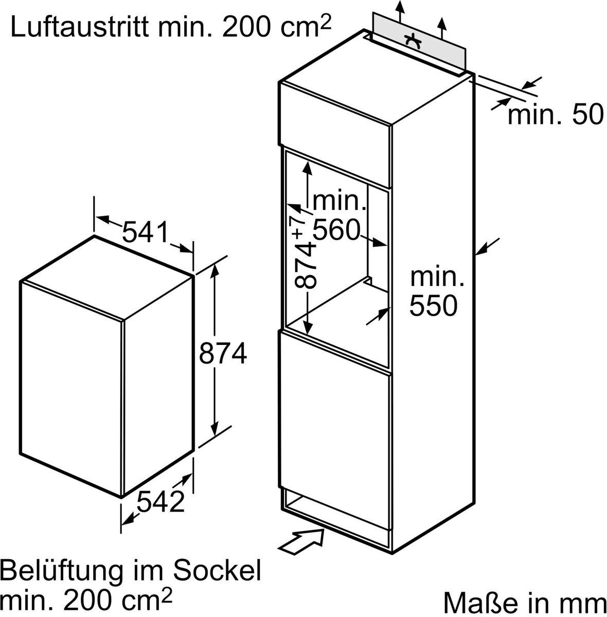 Bild 2 von SIEMENS Einbaukühlschrank iQ100 KI18LNFF0, 87,4 cm hoch, 54,1 cm breit