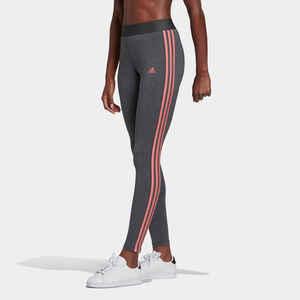 Leggings Fitness 3 Streifen Damen graumeliert/rosa