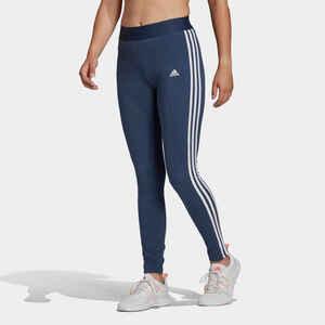 Leggings Fitness 3 Streifen Damen blau meliert