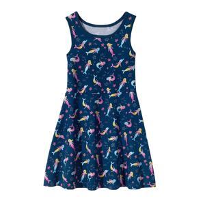 Kinder-Mädchen-Kleid mit Meerjungfrauen