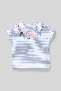 C&A Baby-Kurzarmshirt-Bio-Baumwolle-gestreift-Glanz-Effekt, Weiß, Größe: 98