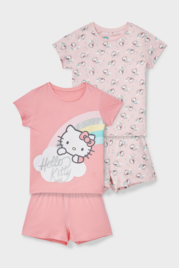 C&A Multipack 2er-Hello Kitty-Shorty-Pyjama-Bio-Baumwolle, Rosa, Größe: 116