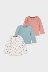 C&A Multipack 3er-Baby-Langarmshirt-Bio-Baumwolle, Weiß, Größe: 62