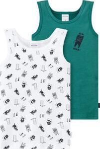 Schiesser Feinripp Kinder-Unterhemd Natural Love im 2er-Pack  Tiermotive ohne Arm 98