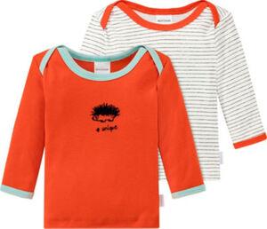 Schiesser Feinripp Kinder-Langarmshirt Natural Love im 2er-Pack  Streifen#Tiermotive langarm 80