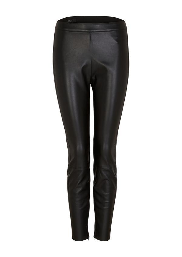 Damen Leder-Look-Leggings mit Zipp-Details