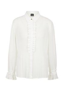 Damen Crêpe-Bluse mit Plisseefalten