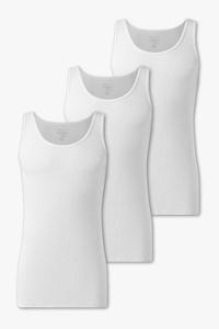C&A Unterhemd-Doppelripp-Bio-Baumwolle-3er Pack, Weiß, Größe: S