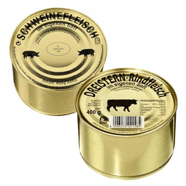 Rind- oder Schweinefleisch jede 400-g-Dose