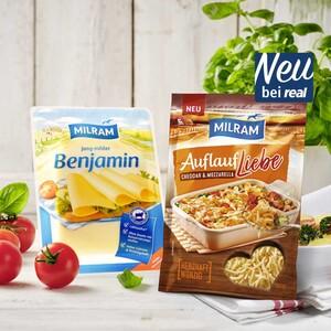 Milram Benjamin Gouda oder Milram Auflaufliebe Deutscher Schnittkäse oder geriebener Käse, 48/55 % Fett. i. Tr. und weitere Sorten, jede 150-g-Packung