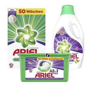 Ariel Waschmittel Pulver/Flüssig 50 Waschladungen oder All-in-1-Pods 38 Waschladungen, versch. Sorten, jede Packung Grundpreis: Waschladungen 50 : 1 = 0,20 38 : 1 = 0,26