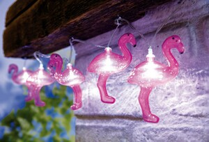 I-Glow LED-Solar-Lichterkette - 10 Flamingos