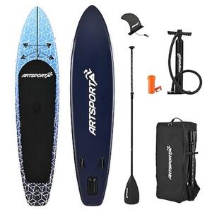 ArtSport Stand Up Paddle Board Deep Ocean – Aufblasbares SUP Board Set bis 150 kg - Blau-Weiß