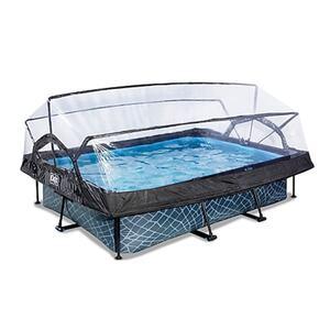 EXIT Stone Pool 300x200x65cm mit Abdeckung und Filterpumpe - grau