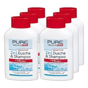 Pure & Basic med sensitive 2in1 Dusche & Shampoo 300 ml, 6er Pack
