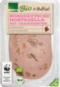 EDEKA Bio Bierschinken, Gekochte Mettwurst oder Mortadella mit Champignons