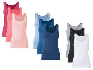 ESMARA® Achselhemden Damen, 3 Stück, mit Baumwolle