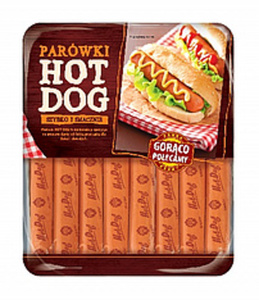 """Geräucherte Hähnchenfleischwürstchen """"Hot dog"""", gepökelt. Mi..."""