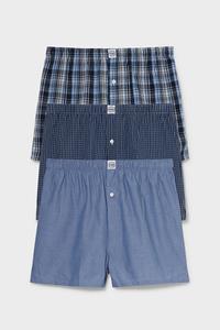 C&A Multipack 3er-Boxershorts-gewebt-Bio-Baumwolle, Blau, Größe: S