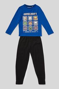 C&A Minecraft-Pyjama-Bio-Baumwolle-2 teilig, Blau, Größe: 128