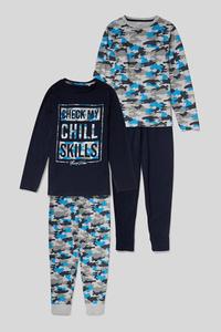 C&A Pyjama-Bio-Baumwolle-2er Pack, Blau, Größe: 134
