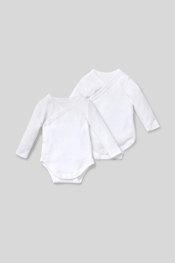 C&A Wickelbody-Bio-Baumwolle-2er Pack, Weiß, Größe: 42