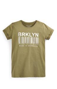 Khakifarbenes T-Shirt mit Slogan (Teeny Girls)
