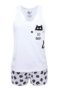 Weißes kurzes Pyjamaset mit Katzen-Print