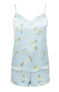 Blaues Satin-Pyjamaset aus Trägertop und Shorts mit Blumenmuster