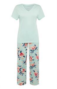 Mintgrünes Pyjamaset mit Blumenmuster