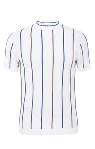 Weißes gestricktes T-Shirt mit Streifen