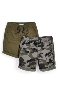 Canvas-Shorts in Khaki/mit Tarnmuster (kleine Jungen), 2er-Pack