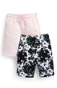 Jersey-Shorts in Rosa/Schwarz-Weiß (Teeny Boys), 2er-Pack