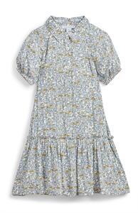 Blaues Hemdkleid mit Blümchenmuster (kleine Mädchen)