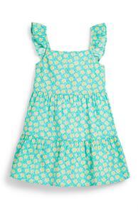 Grünes Stufenkleid mit Blumenmuster (kleine Mädchen)