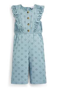 Blauer Jumpsuit mit Stickerei (kleine Mädchen)