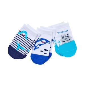 Baby-Jungen-Sneakersocken mit Tieren, 3er-Pack