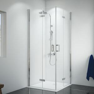 Breuer Dusche Panorama Eckeinstieg Drehfalttür 4-teilig 90x90 cm inkl. CER+ Beschichtung