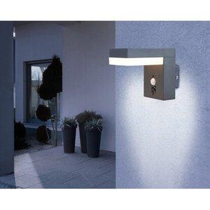 Globo LED-Außenleuchte Oskari Edelstahl Anthrazit mit Bewegungsmelder EEK: A