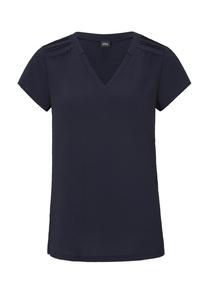 Damen V-Neck-Shirt mit Crêpe-Front
