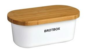 Justinus Brotkasten mit Bambusdeckel - weiß - Bambus, Kunststoff - 36 cm - 14,5 cm - 20 cm - Küchenzubehör & Helfer
