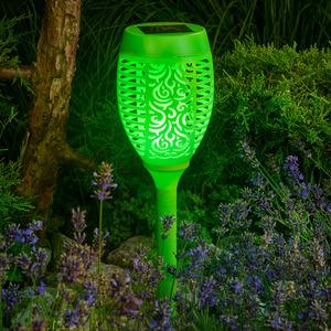 I-Glow LED-Solar-Gartenfackel, Grün