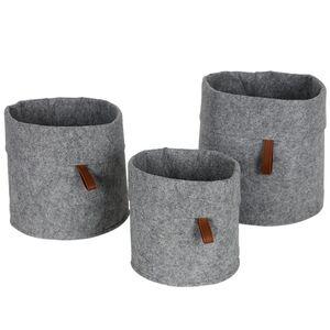 Filz-Aufbewahrungskörbe rund 3er-Set Grau