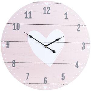 XXL-Wanduhr Weißes Herz 55cm Rosa