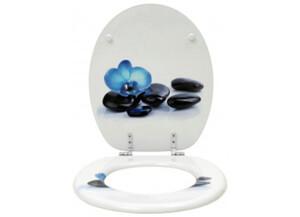 MDF-WC-Sitz Motiv Blaue Orchidee