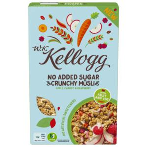 W.K. Kellogg No Added Sugar Crunchy Müsli Apple, Carrot & Raspberry 380g