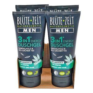 BLÜTE-ZEIT Men Duschgel 3in1 Energy Sandelholz & BIO-Grüner Tee 200 ml, 4er Pack