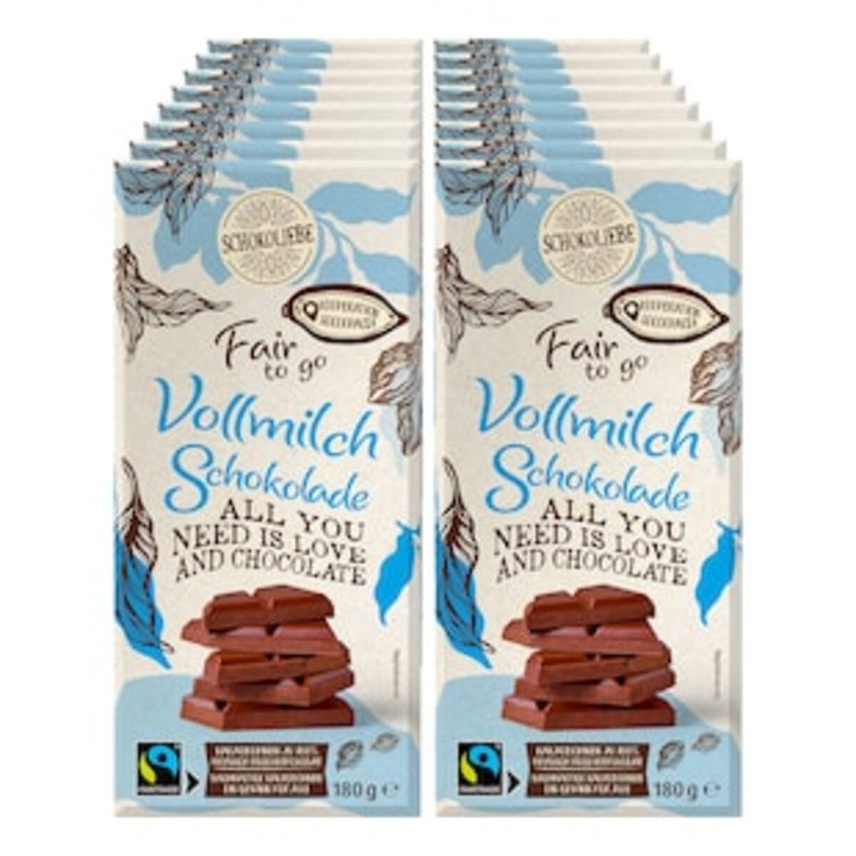 Bild 2 von Schokoliebe FairtoGo Vollmilch Schokolade 180 g, 16er Pack