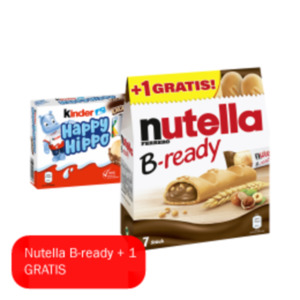 Nutella B-ready, Kinder Cards, Hanuta Riegel oder Happy Hippo