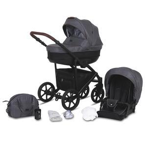 Kinderwagenset Milos in Grau, 11-teilig